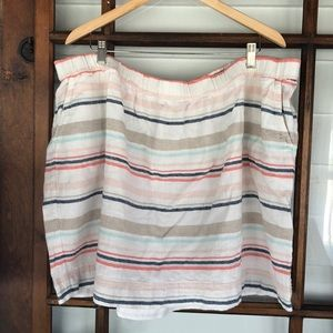 Cutie Linen Cotton Striped Mini Skirt with Pockets
